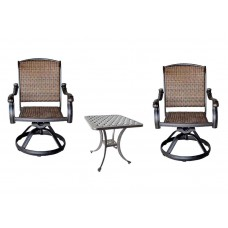 Outdoor 3 pc bistro patio set 2 Santa Clara Swivel Rocker and Nassau End Table