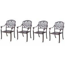 Patio chair dining set of 4 outdoor furniture Elisabeth cast aluminum Bronze