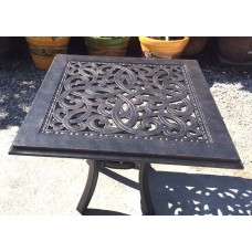 "Patio end table Outdoor Furniture Cast aluminum 24"" Side garden Accent square"