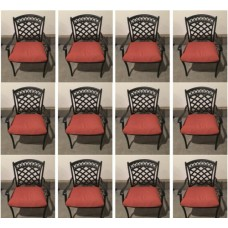 Patio dining chairs 12 Pk aluminum indoor outdoor garden furniture dark seating
