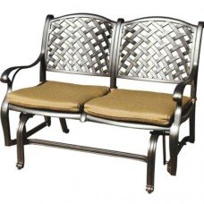 Patio bench love seat Nassau Cast Aluminum Outdoor glider Couch Bronze
