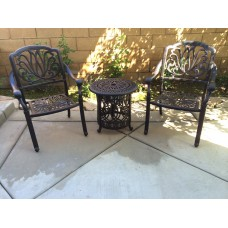 3 Piece Cast Aluminum Patio Conversation Set Outdoor Furniture Elisabeth Table