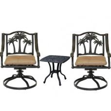 3 piece bistro patio set palm tree cast aluminum end table Bronze outdoor chairs