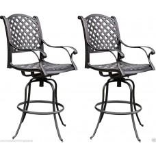 Bar stools set of 2 patio Barstool cast aluminum Swivel Nassau Bronze