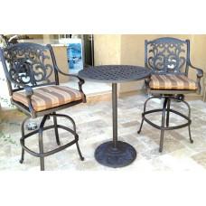 Patio set of 3 cast aluminum Furniture Flamingo Bronze Outdoor Bistro
