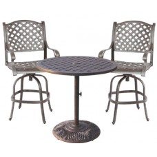 Outdoor patio furniture 3 Piece Bistro Set Nassau Swivel Cast Aluminum