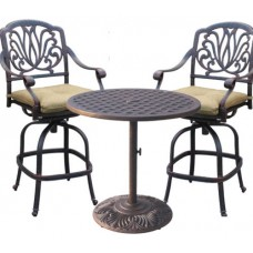 Outdoor bistro set cast aluminum furniture Elisabeth bar stool's Nassau table