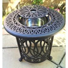 Patio End table Cast Aluminum Ice Round Elisabeth table- Antique Bronze