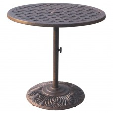 "Bar table outdoor cast aluminum restaurant furniture Nassau 30"" round pedestal"