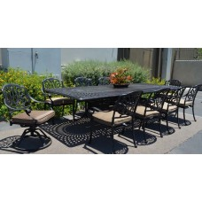 "Patio Dining Set outdoor 11pc Elisabeth Aluminum Extension Rectangle 48"" x 132"""