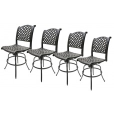 Swivel Bar Stools Set of 4 Cast Aluminum Outdoor Patio Furniture