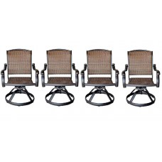 Patio outdoor Wicker Furniture Swivel Rocker Dining Chair set of 4 aluminum