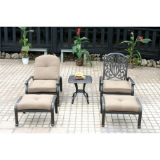 Patio conversation set Aluminum 5pc Elisabeth club chairs Ottoman Bronze