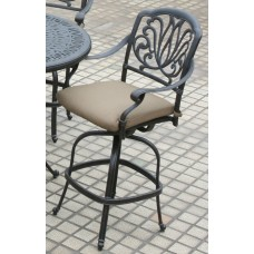 Outdoor patio bar stool Elisabeth cast Aluminum furniture barstool Modern Bronze