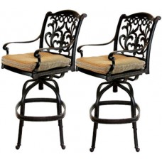 Patio Bar Stools Furniture Set of 2 Swivel Outdoor cast Aluminum Flamingo Bronze