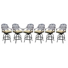 Patio bar stools set of 6 Elisabeth cast aluminum Outdoor Barstool Bronze