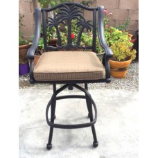 Outdoor patio bar stool Palm Tree barstools cast aluminum Desert Bronze