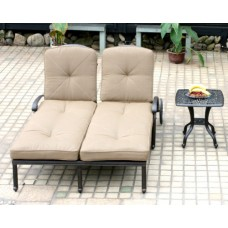 Outdoor chaise lounge Double patio furniture Elisabeth Alumnum Bronze