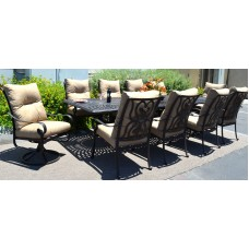 Outdoor furniture 11pc patio dining set chairs table Santa Anita Aluminum bronze
