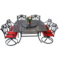 8 piece patio dining set outdoor Cast Aluminum furniture Palm Tree garden Bronze