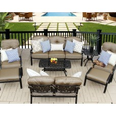 Patio conversation set outdoor furniture 8pc Deep seating group cast aluminum