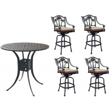 Patio Bar Set Outdoor Cast Aluminum Palm Tree 5pc Round Table bar stools swivel