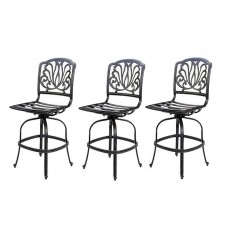 Patio bar stools Swivel set of 3 Outdoor Cast Aluminum Elisabeth Bronze