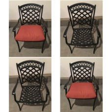 Patio chair outdoor dining chairs set of 4 All-weather aluminum dark Bronze
