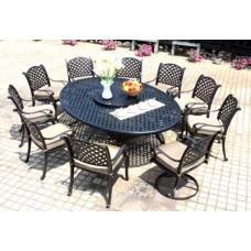 Patio dining set Cast Aluminum outdoor furniture 12pc Nassau Bronze all weather