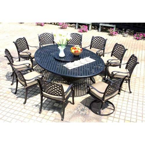 Patio Dining Set Cast Aluminum Outdoor Furniture 12pc Nassau Bronze