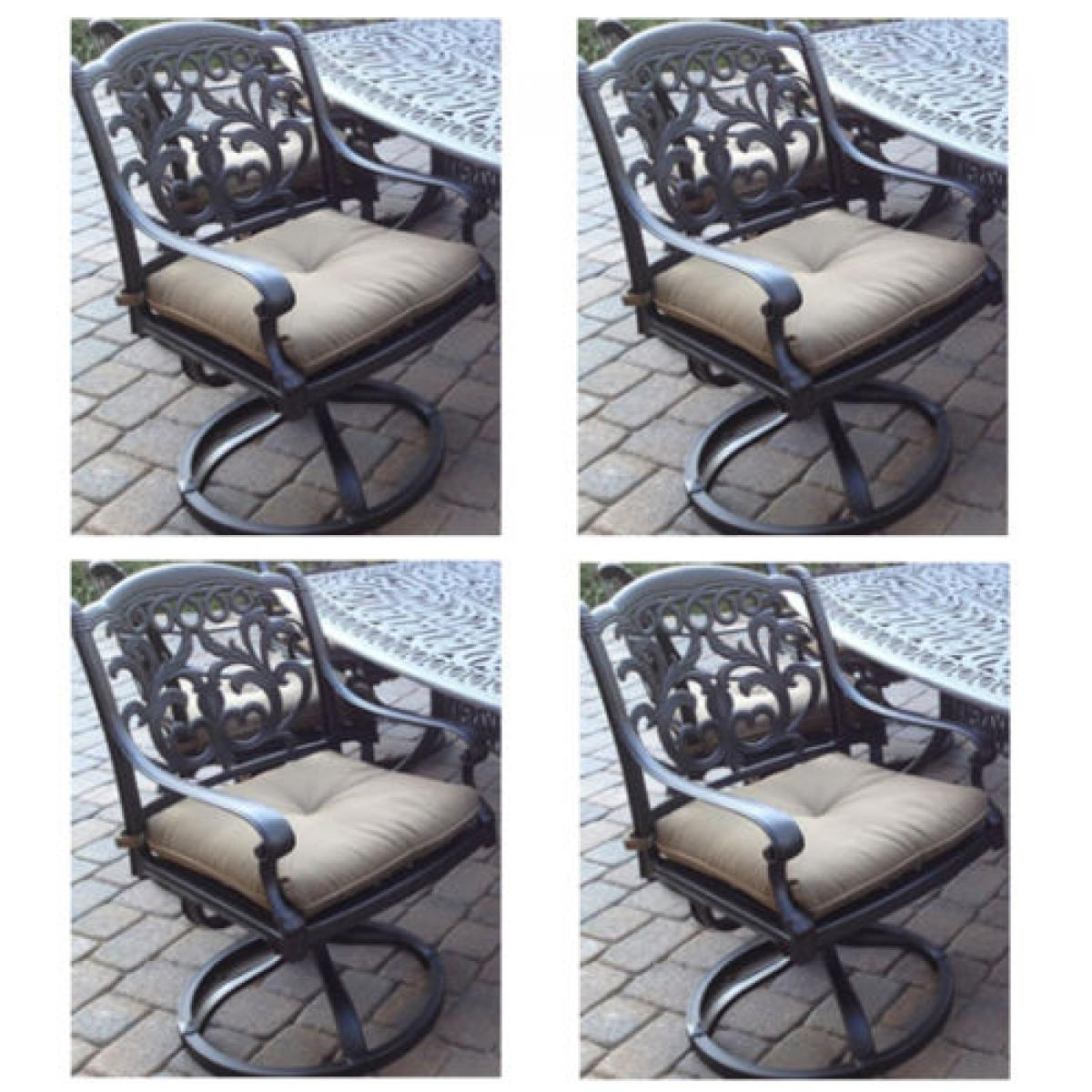 Patio Set Of 4 Dining Chairs Outdoor Cast Aluminum Swivel Rocker