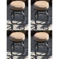 Patio Swivel Bar Stool with Cushion set of 4 outdoor cast aluminum furniture