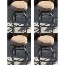 Patio Swivel Bar Stool with Cushion set of 4 outdoor cast aluminum furniture