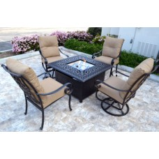 Conversation patio set Propane fire pit table outdoor aluminum Santa Anita 5 pc