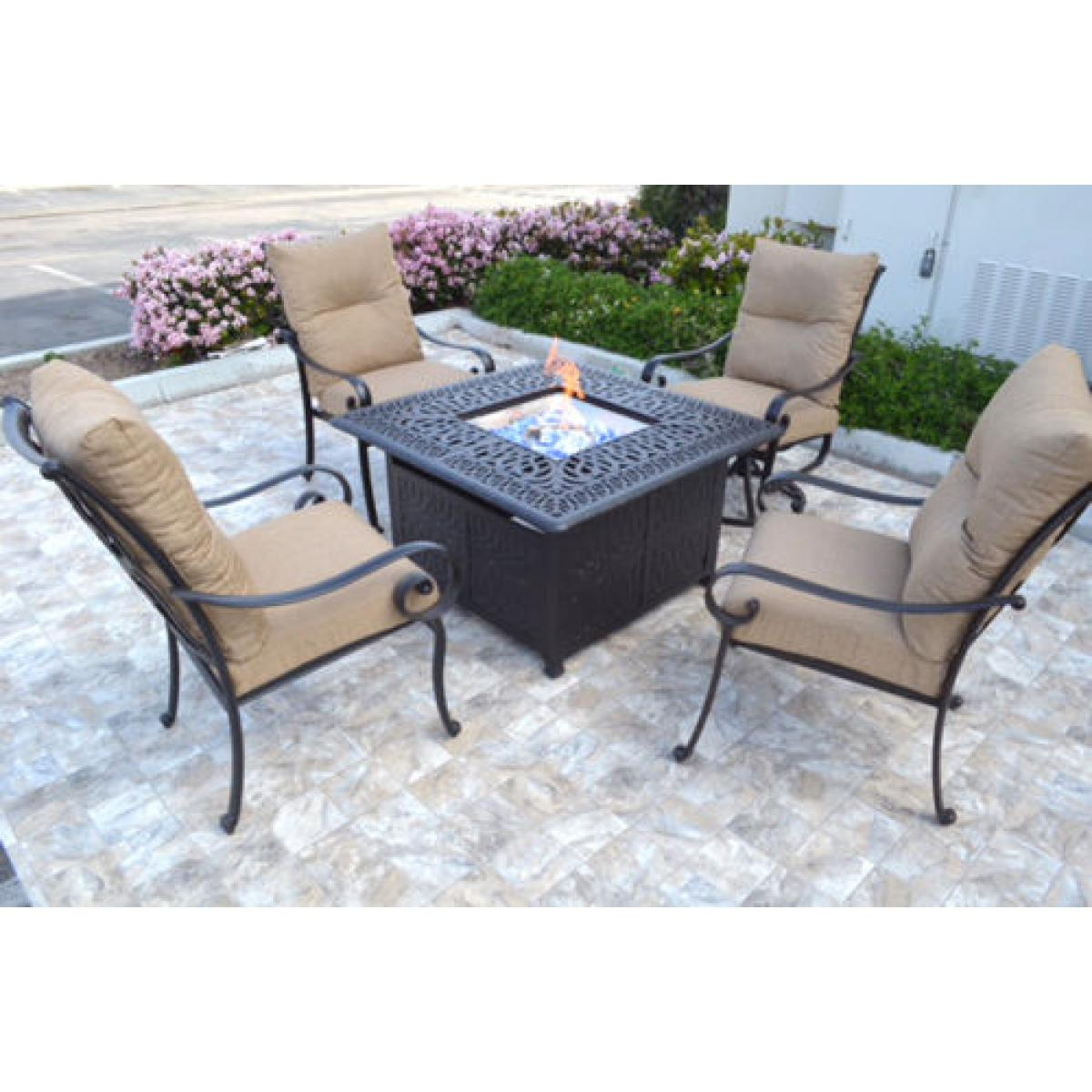 Conversation patio set Propane fire pit table outdoor aluminum Santa Anita  5 pc - Conversation Patio Set Propane Fire Pit Table Outdoor Aluminum Santa