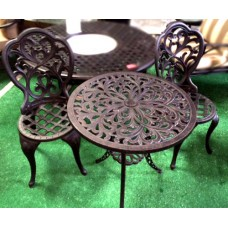 3 Piece Bistro Set Patio furniture cast aluminum Chairs Table Dark Bronze