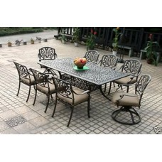 Patio furniture Dining Set Elisabeth 9pc set Outdoor cast aluminum Desert Bronze