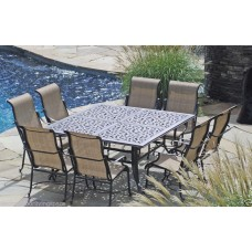 Patio Furniture Outdoor Dining set sling 9 pc cast aluminum Bronze New